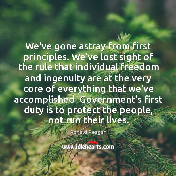Image about We've gone astray from first principles. We've lost sight of the rule