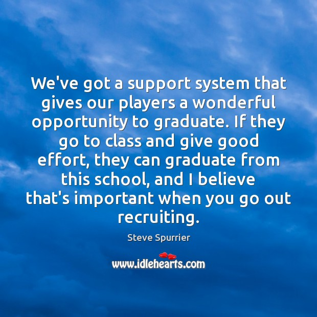 We've got a support system that gives our players a wonderful opportunity Image