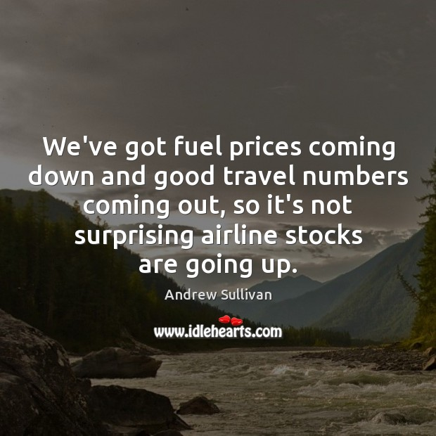 We've got fuel prices coming down and good travel numbers coming out, Andrew Sullivan Picture Quote