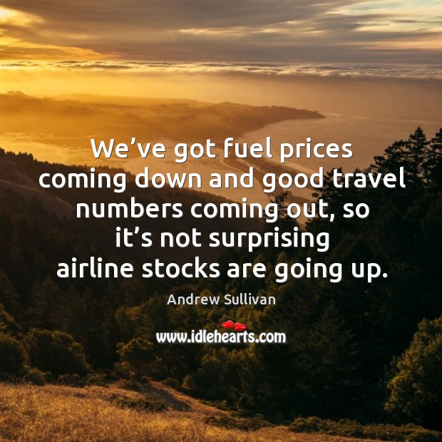 We've got fuel prices coming down and good travel numbers coming out, so it's not surprising airline stocks are going up. Image