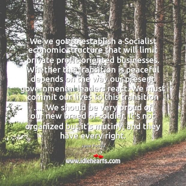 Image, We've got to establish a Socialist economic structure that will limit private
