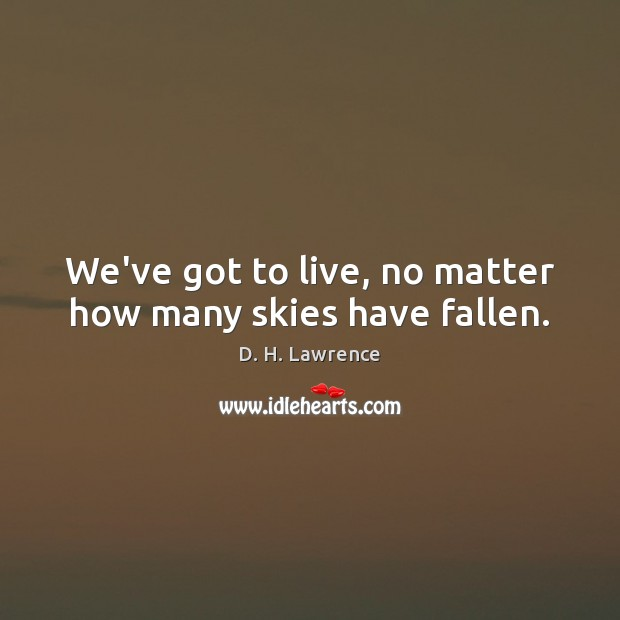 We've got to live, no matter how many skies have fallen. D. H. Lawrence Picture Quote