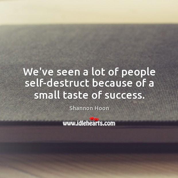 We've seen a lot of people self-destruct because of a small taste of success. Shannon Hoon Picture Quote