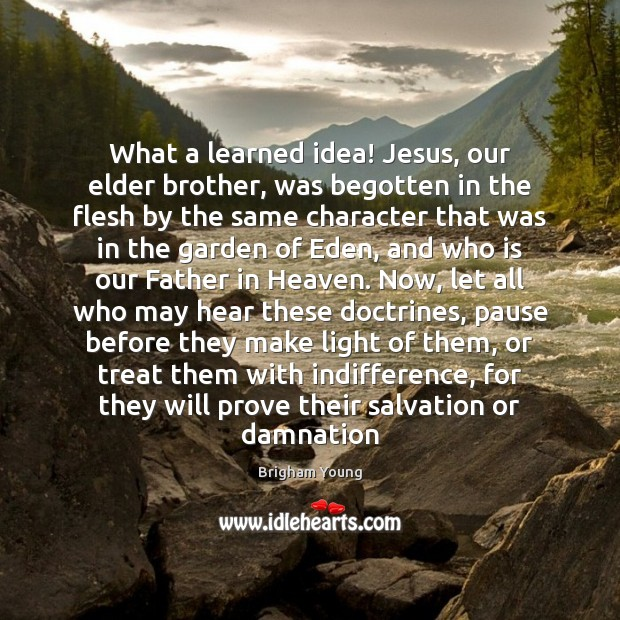 What a learned idea! Jesus, our elder brother, was begotten in the Brigham Young Picture Quote