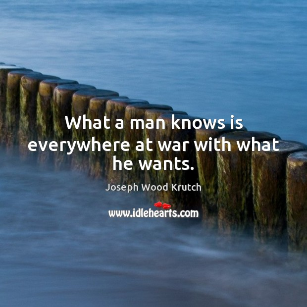 What a man knows is everywhere at war with what he wants. Joseph Wood Krutch Picture Quote