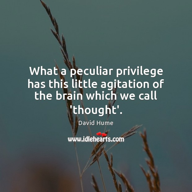 What a peculiar privilege has this little agitation of the brain which we call 'thought'. David Hume Picture Quote