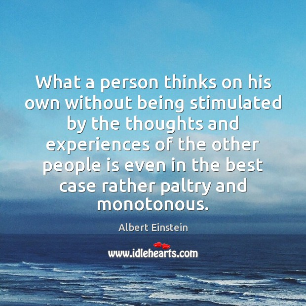 What a person thinks on his own without being stimulated by the Image