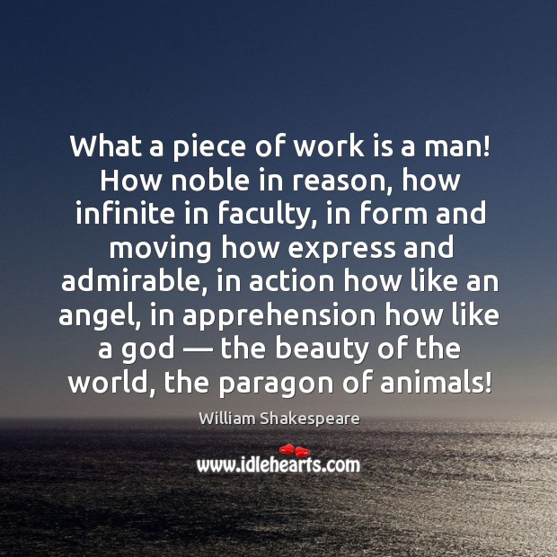 Image, What a piece of work is a man! how noble in reason, how infinite in faculty.