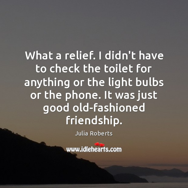What a relief. I didn't have to check the toilet for anything Julia Roberts Picture Quote