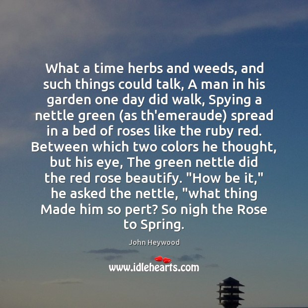 Image, What a time herbs and weeds, and such things could talk, A