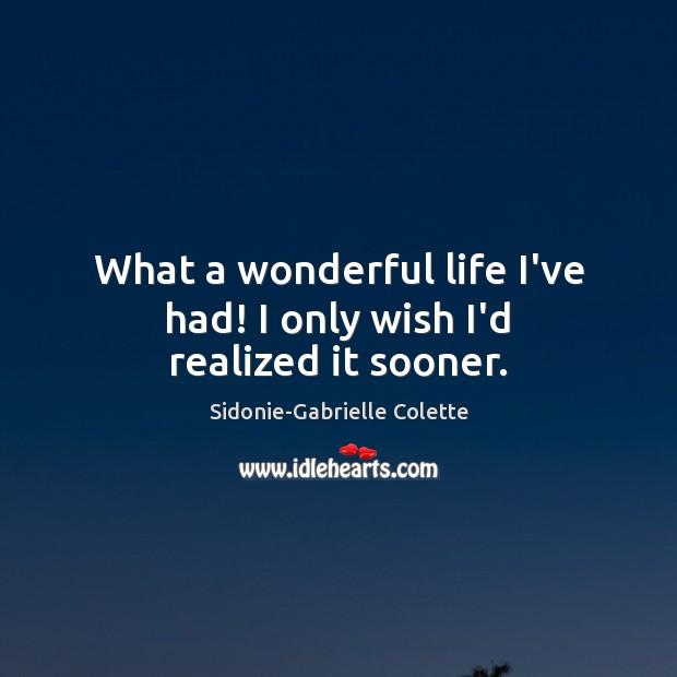 What a wonderful life I've had! I only wish I'd realized it sooner. Image