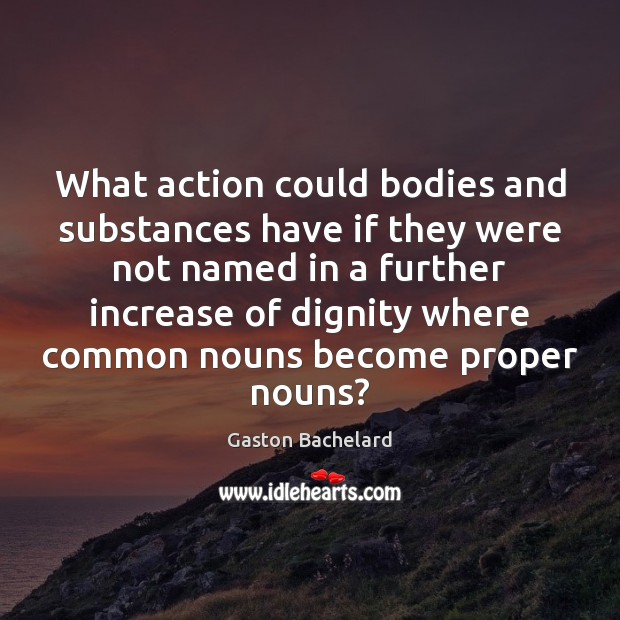 What action could bodies and substances have if they were not named Gaston Bachelard Picture Quote