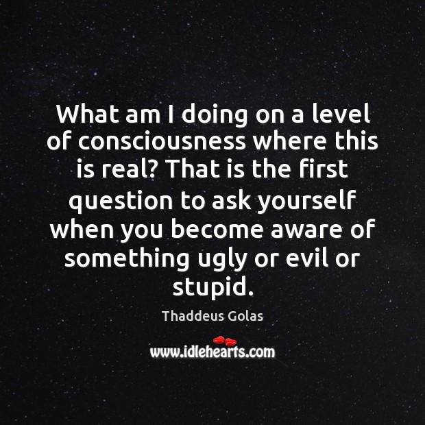 What am I doing on a level of consciousness where this is Thaddeus Golas Picture Quote
