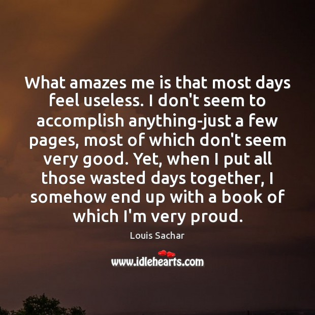 What amazes me is that most days feel useless. I don't seem Louis Sachar Picture Quote