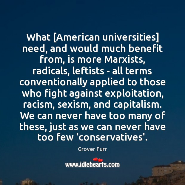 Image, What [American universities] need, and would much benefit from, is more Marxists,