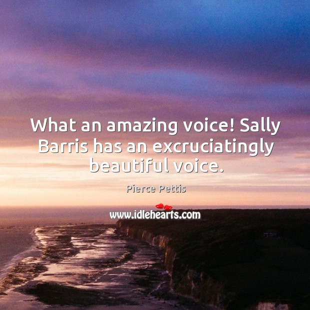 What an amazing voice! Sally Barris has an excruciatingly beautiful voice. Image