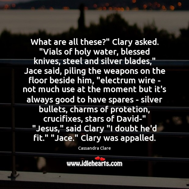 """What are all these?"""" Clary asked. """"Vials of holy water, blessed knives, Image"""