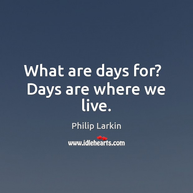 What are days for?   Days are where we live. Philip Larkin Picture Quote