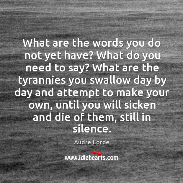 What are the words you do not yet have? What do you Audre Lorde Picture Quote
