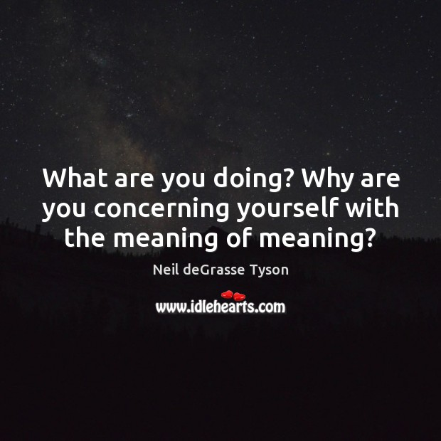 What are you doing? Why are you concerning yourself with the meaning of meaning? Image
