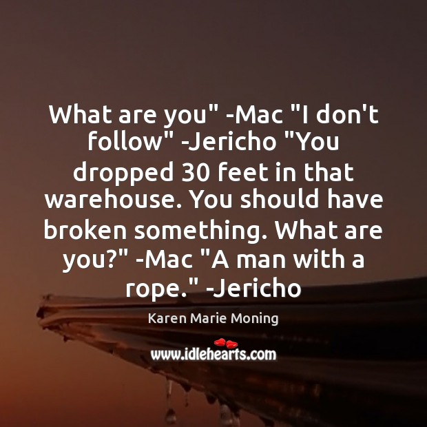 "What are you"" -Mac ""I don't follow"" -Jericho ""You dropped 30 feet in Karen Marie Moning Picture Quote"