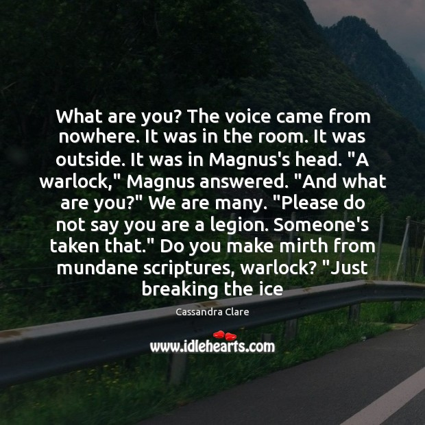What are you? The voice came from nowhere. It was in the Image