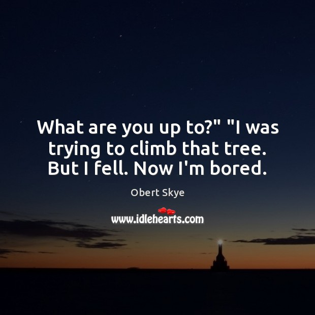 """What are you up to?"""" """"I was trying to climb that tree. But I fell. Now I'm bored. Image"""