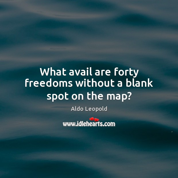 What avail are forty freedoms without a blank spot on the map? Image