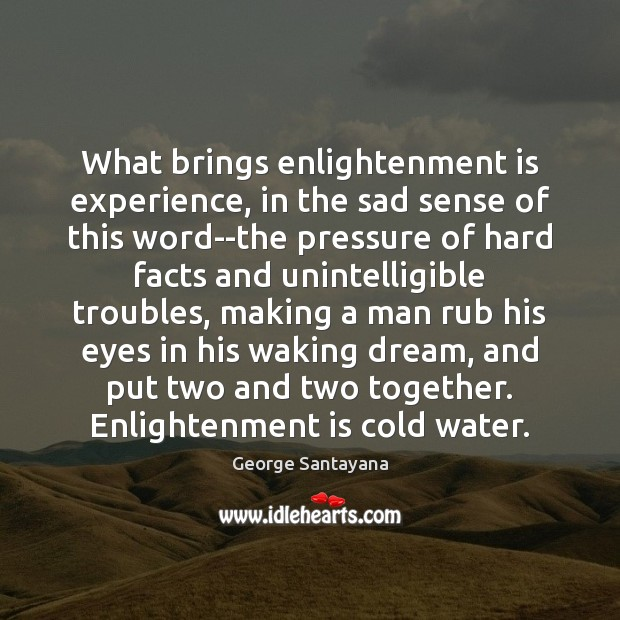 What brings enlightenment is experience, in the sad sense of this word–the Image