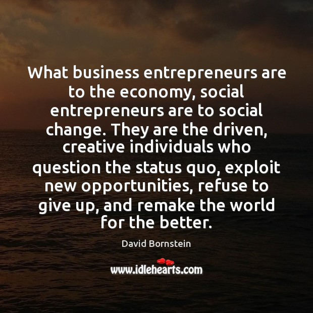 What business entrepreneurs are to the economy, social entrepreneurs are to social Entrepreneurship Quotes Image