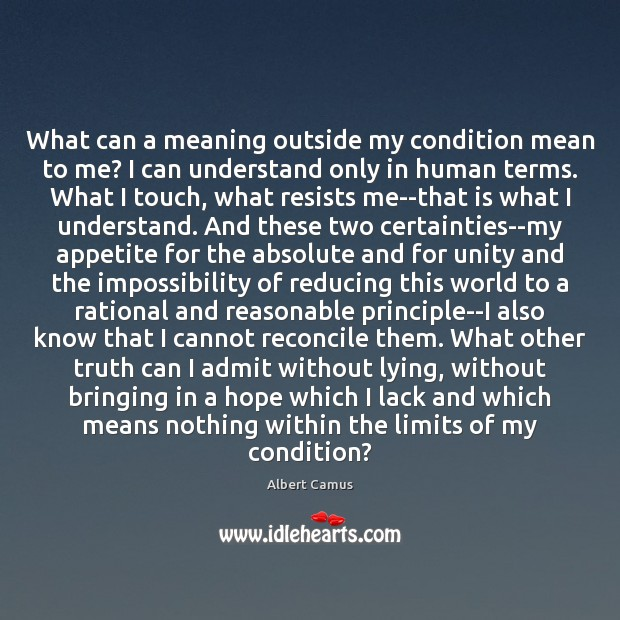 What can a meaning outside my condition mean to me? I can Albert Camus Picture Quote