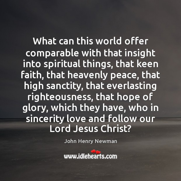 What can this world offer comparable with that insight into spiritual things, John Henry Newman Picture Quote