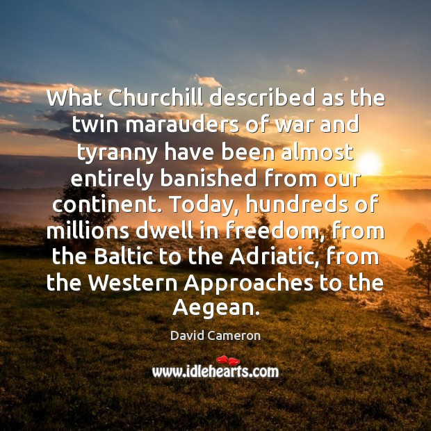 What Churchill described as the twin marauders of war and tyranny have David Cameron Picture Quote