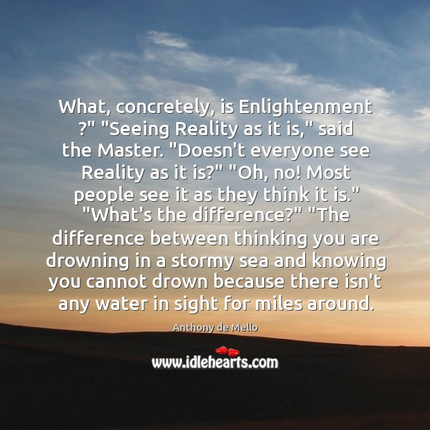 """What, concretely, is Enlightenment ?"""" """"Seeing Reality as it is,"""" said the Master. """" Image"""