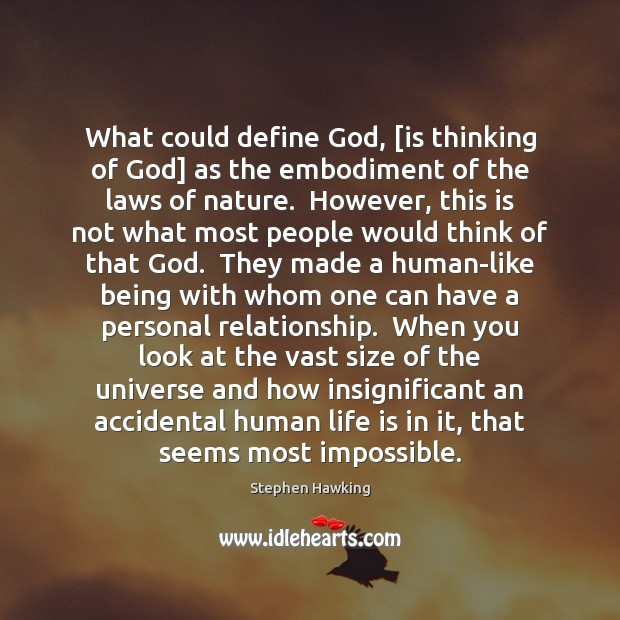 What could define God, [is thinking of God] as the embodiment of Image