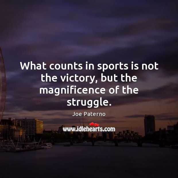 What counts in sports is not the victory, but the magnificence of the struggle. Image