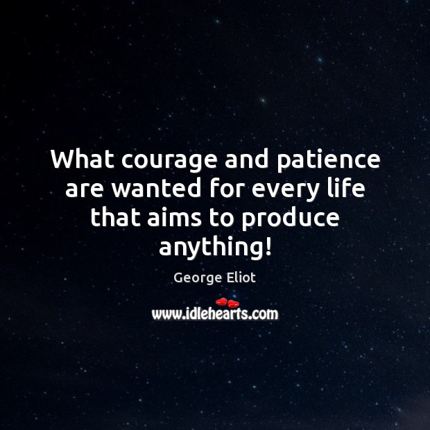 Image, What courage and patience are wanted for every life that aims to produce anything!