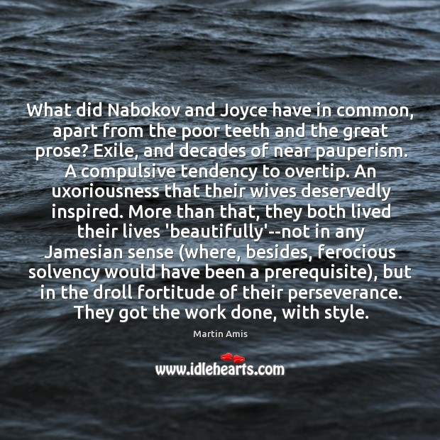 What did Nabokov and Joyce have in common, apart from the poor Image