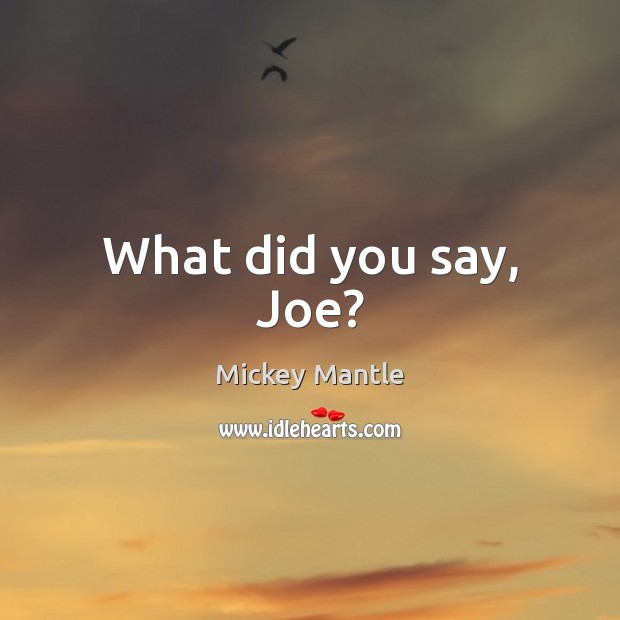 What did you say, Joe? Mickey Mantle Picture Quote