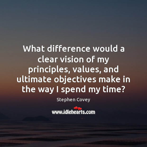 What difference would a clear vision of my principles, values, and ultimate Image