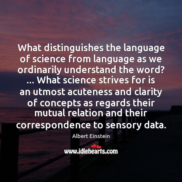 Image, What distinguishes the language of science from language as we ordinarily understand