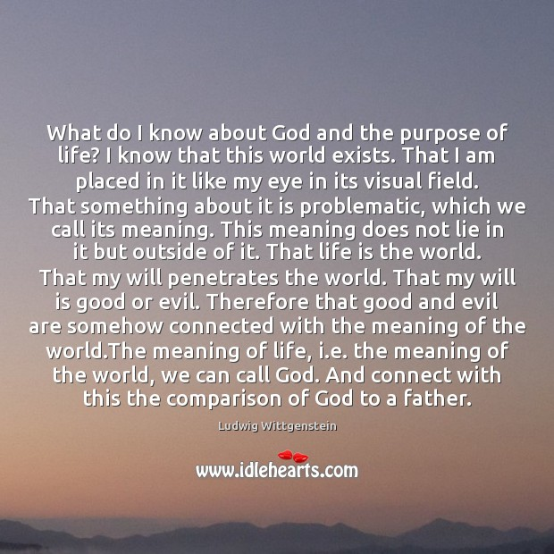 Image, What do I know about God and the purpose of life? I