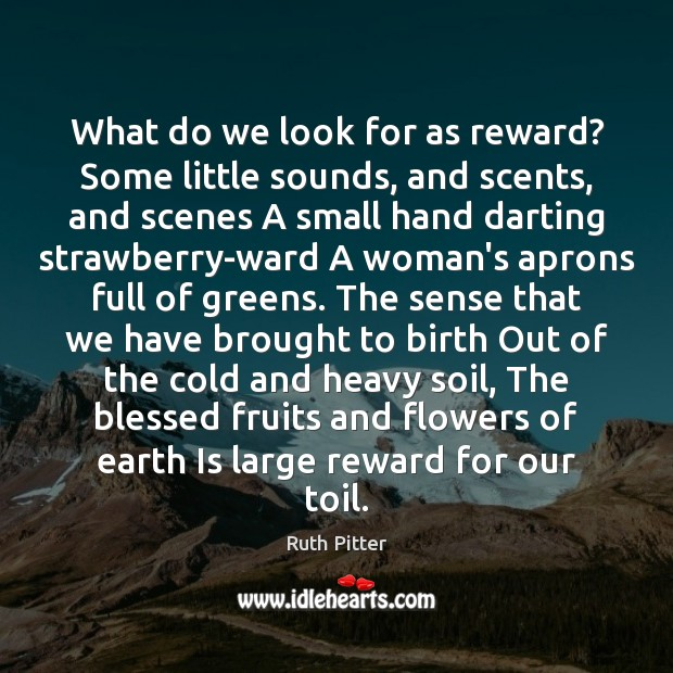 Image, What do we look for as reward? Some little sounds, and scents,