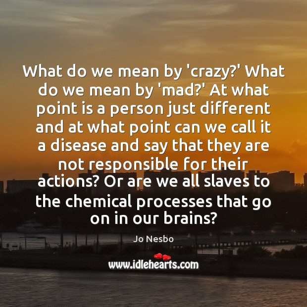 What do we mean by 'crazy?' What do we mean by Jo Nesbo Picture Quote