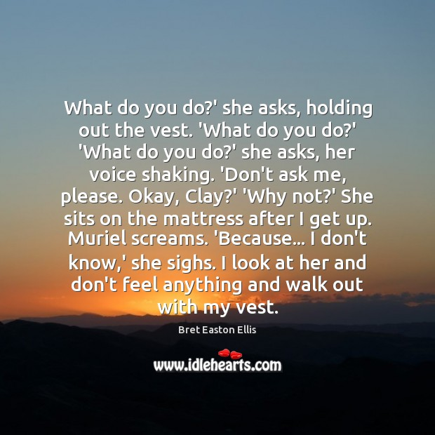 What do you do?' she asks, holding out the vest. 'What Bret Easton Ellis Picture Quote