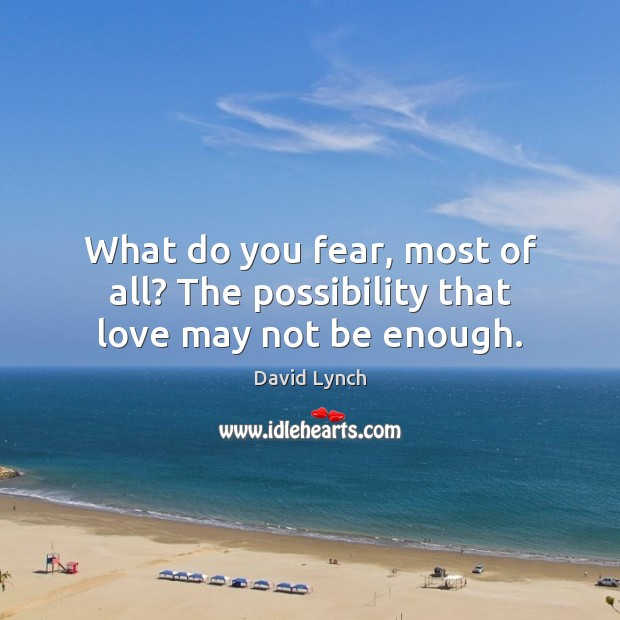 What do you fear, most of all? The possibility that love may not be enough. David Lynch Picture Quote