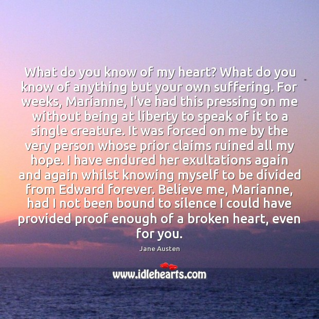 What do you know of my heart? What do you know of Broken Heart Quotes Image