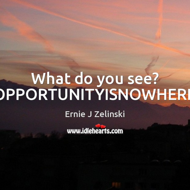 What do you see? OPPORTUNITYISNOWHERE Ernie J Zelinski Picture Quote