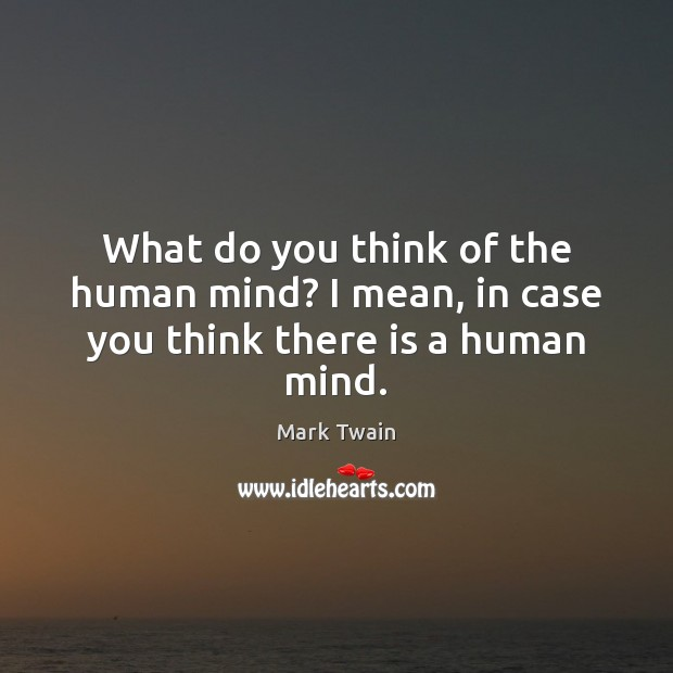 What do you think of the human mind? I mean, in case you think there is a human mind. Image