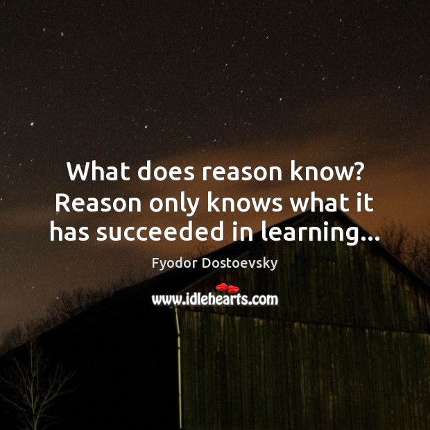What does reason know? Reason only knows what it has succeeded in learning… Image